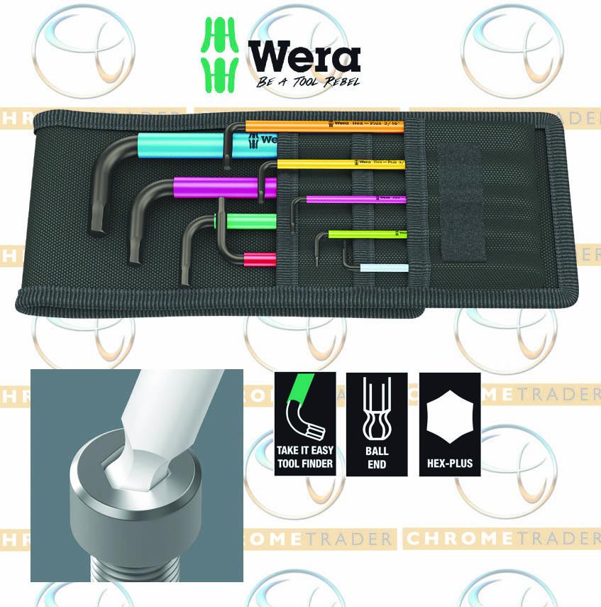 Wera 022210 fonction HOLD Hex-Plus 9 Pce Multi Couleur Ball-End Hex Clé Allen Set