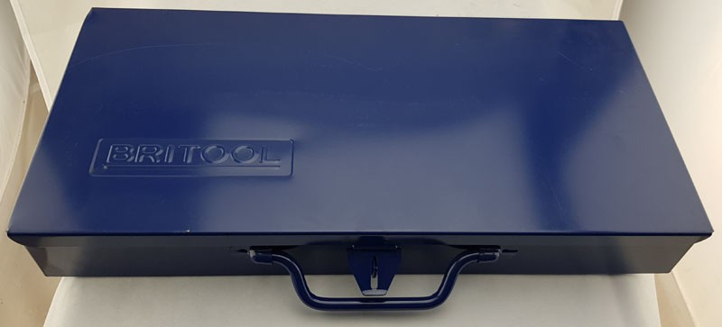 "BRITOOL DARK BLUE METAL TOOL TIN CASE WITH HINGED LID AND LATCH, IDEAL FOR 1/2"" SOCKETRY"