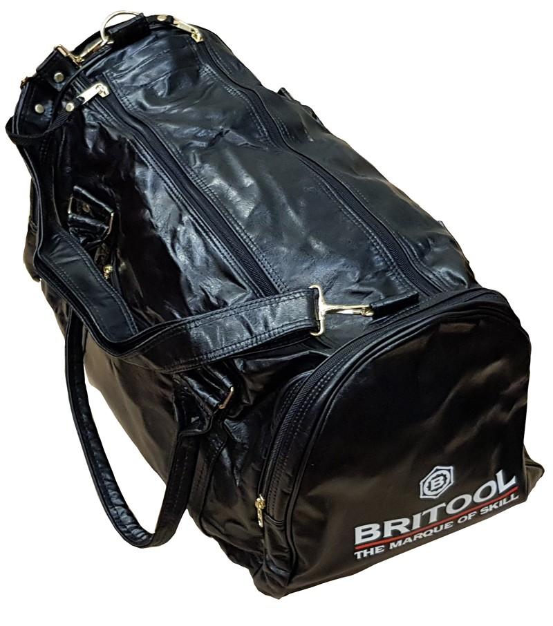 RETRO BRITOOL BRANDED BLACK VINYL FAUX LEATHER SPORTS / TOOL BAG