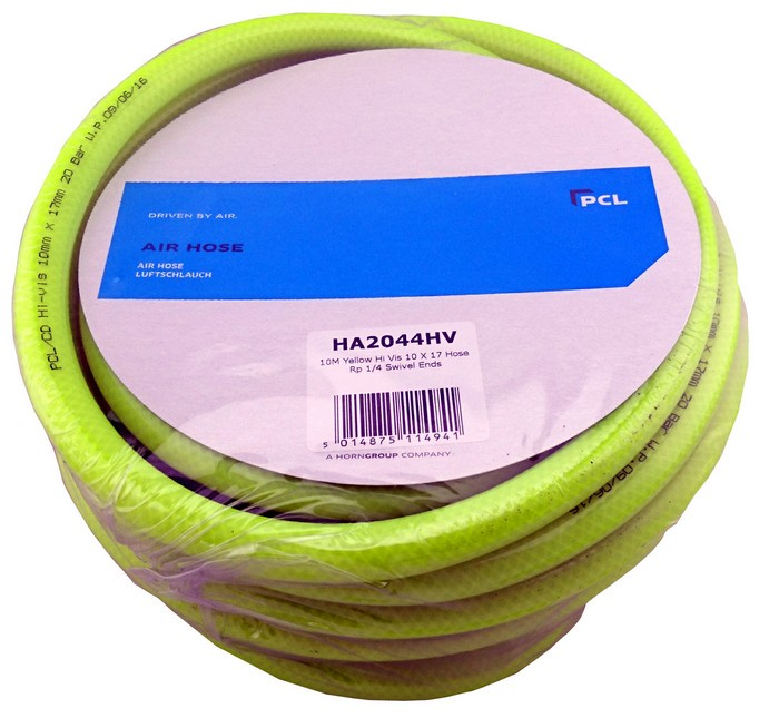 HIGH VIS AIR HOSE / AIRLINE 10 METRES 10MM DIAMETER FROM PCL HA2044HV