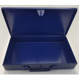 "DARK BLUE METAL TOOL TIN CASE WITH HINGED LID AND LATCH, IDEAL FOR 3/8"" SOCKETRY"