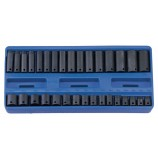 "32 PIECE STANDARD & DEEP 3/8"" SQ DR IMPACT SOCKET SET 7-22mm CR-MO GENIUS TOOLS CM-332M"