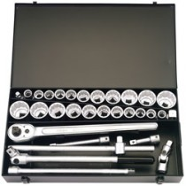 31 PIECE 3-4 INCH  SQUARE DRIVE ELORA METRIC AND IMPERIAL SOCKET SET