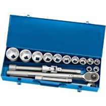 DRAPER EXPERT 17 PIECE 3-4 INCH  SQ. DR. METRIC SOCKET SET WITH EXTENDABLE RATCHET