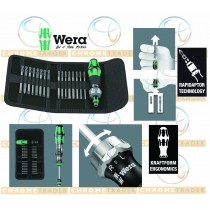 17 PIECE RATCHET SCREWDRIVER SET IN POUCH FROM WERA TOOLS 60 RA