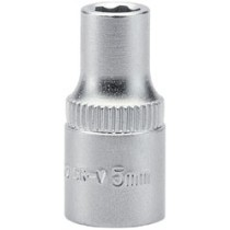 DRAPER EXPERT 5.0MM 1-4 INCH SQUARE DRIVE SATIN CHROME HI-TORQ® 6 POINT SOCKET