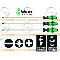 3PC EXTRA LONG PH, PZ & SL SCREWDRIVER SET KRAFTFORM PLUS SERIES FROM WERA TOOLS