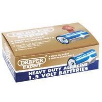 DRAPER TRADE PACK OF 12 D-SIZE HEAVY DUTY ALKALINE BATTERIES