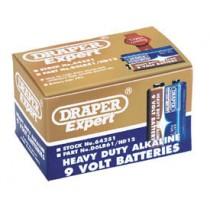 DRAPER TRADE PACK OF 12 PP3 SIZE HEAVY DUTY ALKALINE BATTERIES