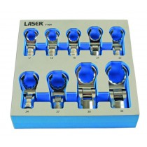 FLEXIBLE CROWS FOOT SET 12 POINT / BI-HEX SET FROM LASER TOOLS