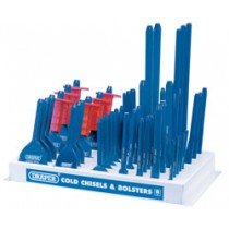 DRAPER DISPLAY OF 50 BOLSTERS AND COLD CHISELS
