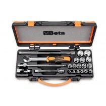 BETA TOOLS 910A/C16 3/8 INCH SQ DR SOCKET, RATCHET AND EXTENSION BAR SET 009100936