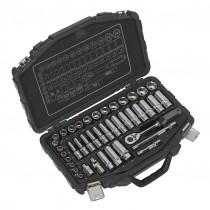SEALEY AK8952 SOCKET SET 41PC 3/8 INCH SQ DRIVE 6PT WALLDRIVE® METRIC