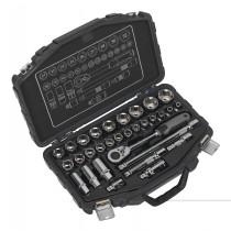 SEALEY AK8953 SOCKET SET 31PC 1/2 INCH SQ DRIVE 6PT WALLDRIVE® METRIC
