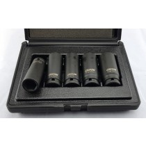 "5PC 1/2"" DRIVE DEEP IMPACT SOCKET SET 17-24MM CR-MO FROM CUSTOR TOOLS"