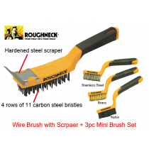 ROUGHNECK WIRE BRUSH WITH SCRAPER + 3PC MINI BRUSH SET