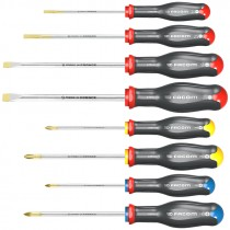 FACOM TOOLS PROTWIST 8 PIECE SLOTTED / POZI / PHILLIPS SCREWDRIVER SET (NEW DESIGN)