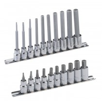 "3/8"" DRIVE STANDARD & LONG HEXAGON / ALLEN BIT SOCKET SETS FROM GENIUS TOOLS"