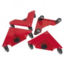 CORNER TRANSPORT DOLLIES SET OF 4 150KG CAPACITY FROM SEALEY