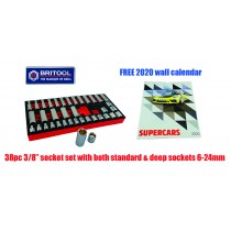 "38PC 3/8"" SOCKET SET STANDARD & DEEP SOCKETS 6-24MM BRITOOL HALLMARK"