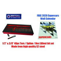 40PC HEAVY DUTY S2 BIT SET ALLEN (HEX) / TORX (STAR) / SPLINE (XZN) BRITOOL HALLMARK