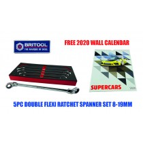 EXTRA LONG FLEXI RATCHET SPANNER / WRENCH SET BRITOOL HALLMARK + FREE CALENDAR