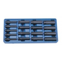 "THIN WALL IMPACT SOCKET SET 8-24MM 17 PIECES 1/2"" SQ DR 12 POINT GENIUS TOOLS"