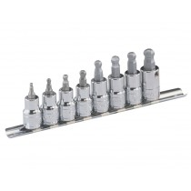 3/8 INCH DR HEX (ALLEN) BIT SOCKET SET - BALL-END GENIUS TOOLS BS-308WH