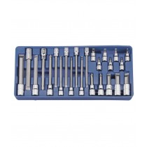 "24PC 3/8"" & 1/2"" DR SLOTTED & PHILLIPS BIT SOCKET SET GENIUS TOOLS"