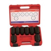 "GENIUS TOOLS DI-408M 8 PIECE 1/2"" BI-HEX IMPACT HUB NUT SOCKET SET"