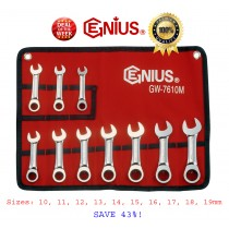**SALE** 10PC STUBBY RATCHET WRENCH / SPANNER SET BY GENIUS TOOLS USA