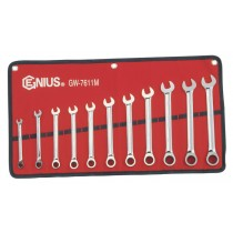 11PC RATCHETING SPANNER / WRENCH / SET 8-19MM BY GENIUS TOOLS