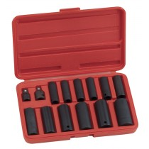 "GENIUS TOOLS 15PC 3/8 & 1/2"" SQ. DR. DEEP IMPACT SOCKET & ADAPTER SET TD-3415M"