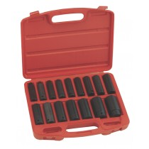 "16 PIECE 1/2""SD METRIC DEEP IMPACT SOCKET SET IN CASE FROM GENIUS TOOL"