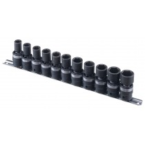GENIUS TOOLS TG-411M 11PC 1/2 INCH DR. METRIC SWIVEL IMPACT SOCKET SET