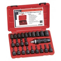 "GENIUS TOOLS 24PC ID-424M 1/2"" SQ DR IMPACT SCREWDRIVER SET"