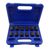 "**CLEARANCE** 1/2"" SD 6 POINT METRIC IMPACT SOCKET SET 8MM-19MM FROM BRITOOL"