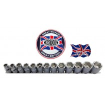 "1/2"" DRIVE SOCKET SET SIZES 10-24MM ORIGINAL BRITOOL ENGLAND"