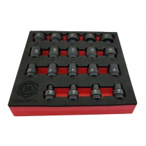 "19PC 3/8"" DRIVE IMPACT SOCKET SET BI-HEXAGON / 12 POINT PROFILE BRITOOL HALLMARK"
