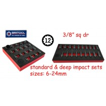 "3/8"" DR IMPACT SOCKET SETS (STANDARD & DEEP) 12 POINT PROFILE BRITOOL HALLMARK"