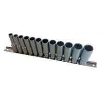 BRITOOL HALLMARK MDBMSET12 3/8 INCH SD METRIC DEEP BI-HEXAGON 12 PIECE SOCKET SET, 8MM-19MM