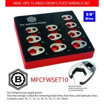 """3/8"""" CROW'S FOOT SPANNER / WRENCH SET 10 PIECE BRITOOL HALLMARK, 10-19MM"""