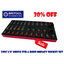 "**SALE** BRITOOL HALLMARK 32PC 3/8"" DRIVE IMPACT SOCKET SET (STANDARD & DEEP) 6 POINT PROFILE"