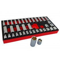 "38PC 3/8"" CHROME HAND SOCKET SET STANDARD & DEEP SOCKETS 6-24MM FROM BRITOOL HALLMARK"