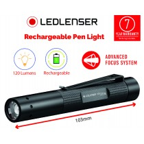 LEDLENSER POWERFUL LED RECHARGEABLE PEN TORCH (120 LUMENS) 7 YEAR WARRANTY