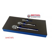 BRITOOL HALLMARK 3 PIECE RATCHET SET IN TOOL CONTROL FOAM