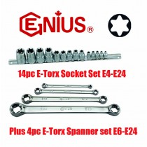 "14PC 1/4"", 3/8"" & 1/2"" E-TORX SOCKET SET + 4PC E-TORX SPANNER / WRENCH SET FROM GENIUS TOOLS"