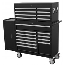 "BRITOOL HALLMARK 19 DRAWER BLACK TOOL STACK (42"" WIDE) + FREE SIDE CABINET"