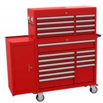 "BRITOOL HALLMARK 19 DRAWER RED TOOL STACK (42"" WIDE) + FREE SIDE CABINET"