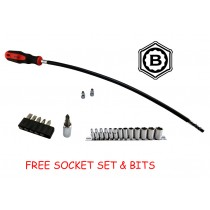 "1/4"" FLEXIBLE HOSE CLIP DRIVER SET + FREE SOCKET & BIT SET FROM BRITOOL HALLMARK"